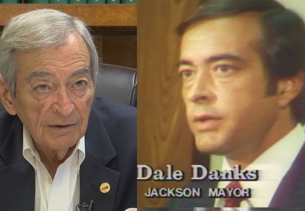 Dale Danks today (left) and in 1979, as mayor of Jackson (Source: WLBT)