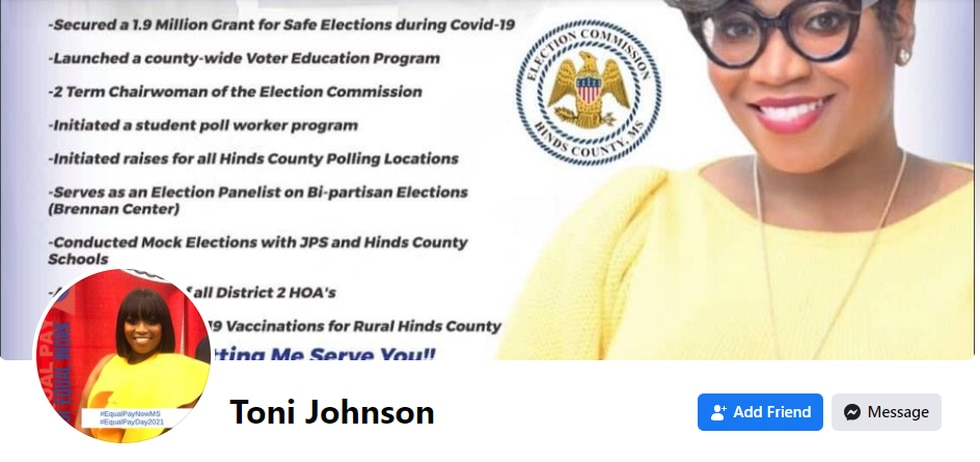 Toni Johnson's social media page lists securing a $1.9 million grant for safe elections as one...